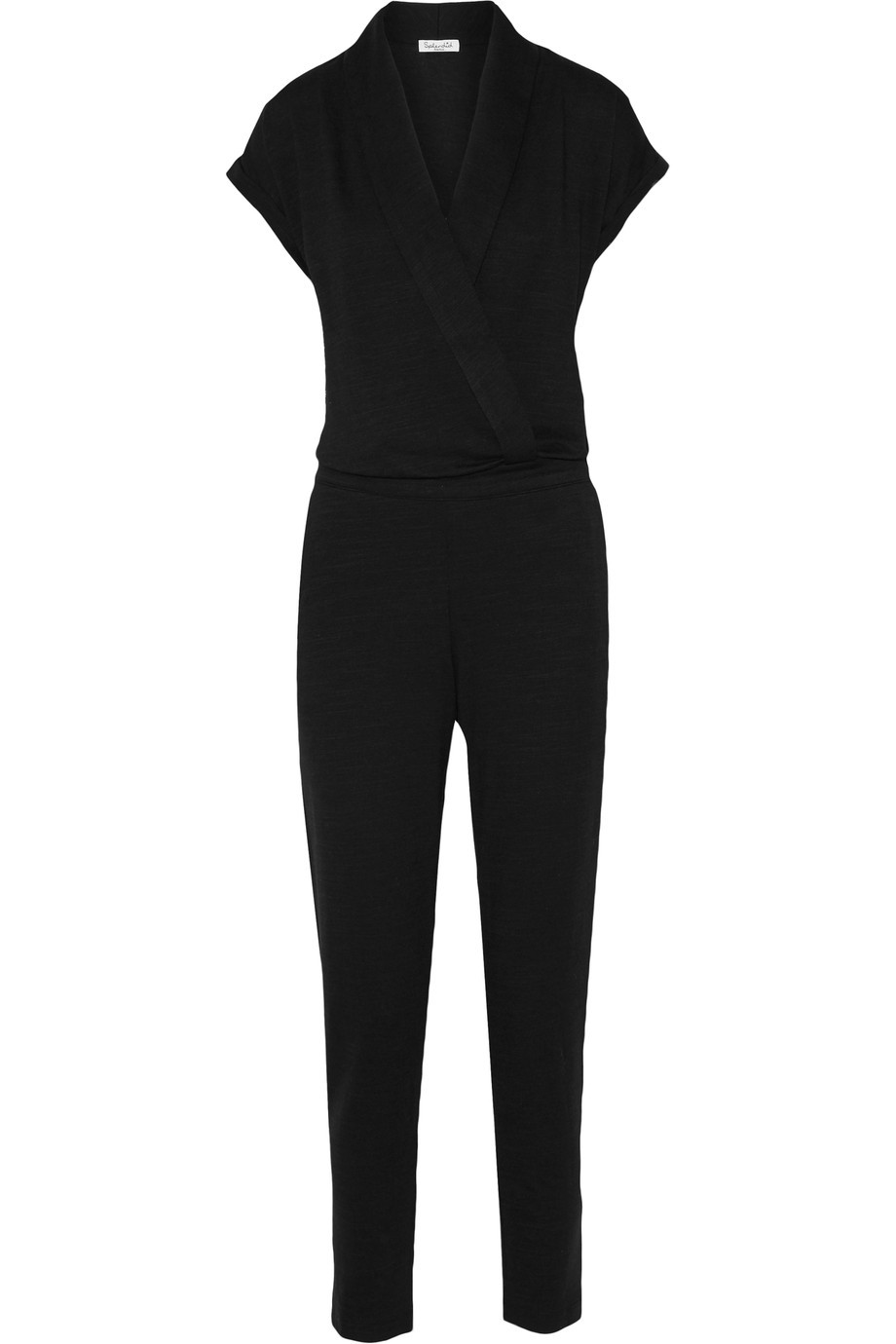 Wrap Effect Stretch Twill Jumpsuit Black - length: standard; neckline: low v-neck; pattern: plain; hip detail: draws attention to hips; predominant colour: black; occasions: evening; fit: body skimming; fibres: polyester/polyamide - stretch; sleeve length: short sleeve; sleeve style: standard; style: jumpsuit; pattern type: fabric; texture group: jersey - stretchy/drapey; season: s/s 2016; wardrobe: event