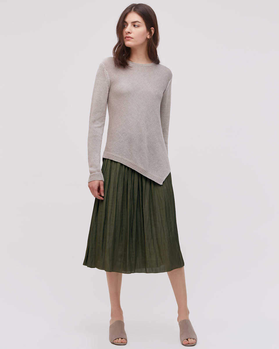 Crocus Drape Midi Skirt - length: below the knee; pattern: plain; fit: loose/voluminous; style: pleated; waist detail: fitted waist; waist: high rise; predominant colour: khaki; fibres: polyester/polyamide - 100%; hip detail: structured pleats at hip; texture group: sheer fabrics/chiffon/organza etc.; pattern type: fabric; occasions: creative work; season: s/s 2016