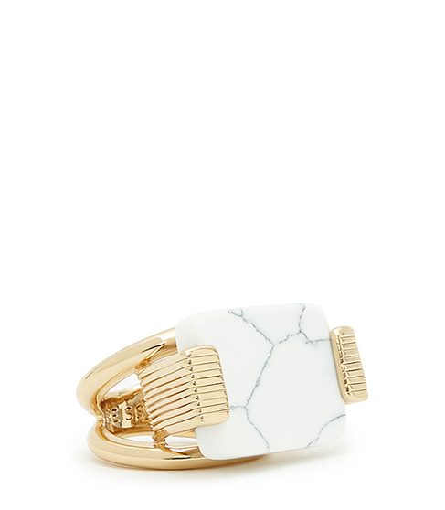 Halley Statement Ring - secondary colour: white; predominant colour: gold; occasions: evening, occasion; style: cocktail; size: large/oversized; material: chain/metal; finish: metallic; embellishment: jewels/stone; season: s/s 2016; wardrobe: event
