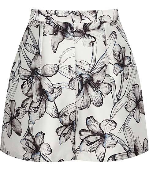 Caggie Printed Shorts - waist: mid/regular rise; predominant colour: white; secondary colour: mid grey; occasions: evening; hip detail: front pleats at hip level; pattern type: fabric; pattern: florals; texture group: other - light to midweight; fibres: viscose/rayon - mix; pattern size: big & busy (bottom); multicoloured: multicoloured; season: s/s 2016; style: tailored shorts; length: short shorts; fit: a-line