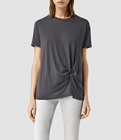 Ashley Devo Tee - pattern: plain; style: t-shirt; predominant colour: charcoal; occasions: casual; length: standard; fibres: cotton - stretch; fit: loose; neckline: crew; sleeve length: short sleeve; sleeve style: standard; pattern type: fabric; texture group: jersey - stretchy/drapey; season: s/s 2016; wardrobe: basic