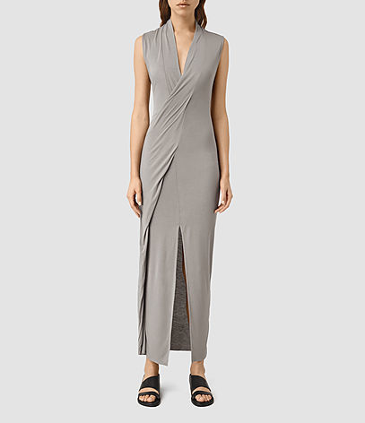 Long Siv Dress - neckline: low v-neck; fit: tight; pattern: plain; sleeve style: sleeveless; style: maxi dress; length: ankle length; predominant colour: mid grey; occasions: evening; fibres: viscose/rayon - 100%; sleeve length: sleeveless; pattern type: fabric; texture group: jersey - stretchy/drapey; season: s/s 2016