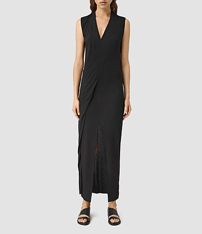 Long Siv Dress - style: shift; length: calf length; neckline: low v-neck; pattern: plain; sleeve style: sleeveless; predominant colour: black; fit: body skimming; fibres: viscose/rayon - 100%; hip detail: slits at hip; sleeve length: sleeveless; occasions: holiday, creative work; pattern type: fabric; texture group: jersey - stretchy/drapey; season: s/s 2016; wardrobe: investment