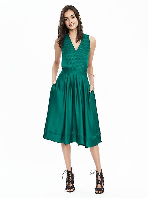 Satin Midi Vee Dress Cosmic Teal - length: below the knee; neckline: low v-neck; fit: fitted at waist; pattern: plain; sleeve style: sleeveless; predominant colour: teal; style: fit & flare; fibres: polyester/polyamide - mix; occasions: occasion; sleeve length: sleeveless; texture group: structured shiny - satin/tafetta/silk etc.; pattern type: fabric; season: s/s 2016