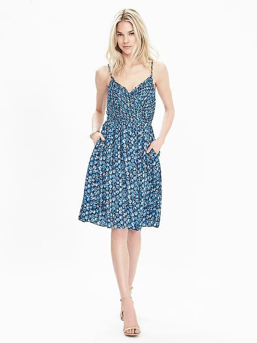 Strappy Floral Dress Boat Blue - neckline: v-neck; sleeve style: spaghetti straps; predominant colour: diva blue; occasions: casual; length: on the knee; fit: fitted at waist & bust; style: fit & flare; fibres: polyester/polyamide - 100%; sleeve length: sleeveless; pattern type: fabric; pattern size: standard; pattern: patterned/print; texture group: other - light to midweight; season: s/s 2016; wardrobe: highlight