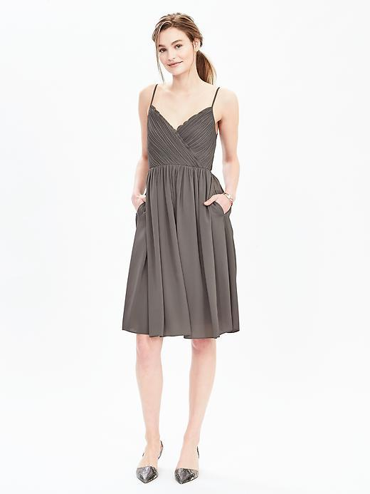 Strappy Crossover Vee Dress Pacific Taupe - neckline: low v-neck; sleeve style: spaghetti straps; fit: fitted at waist; pattern: plain; predominant colour: taupe; occasions: evening, occasion; length: on the knee; style: fit & flare; fibres: polyester/polyamide - 100%; sleeve length: sleeveless; pattern type: fabric; texture group: other - light to midweight; season: s/s 2016; wardrobe: event