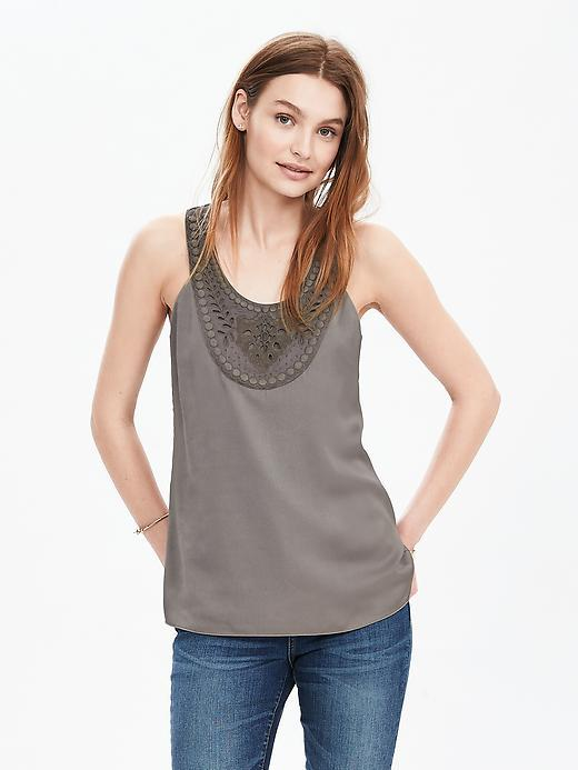 Sleeveless Embroidered Bib Top Pacific Taupe - neckline: round neck; pattern: plain; sleeve style: sleeveless; style: vest top; predominant colour: taupe; occasions: casual; length: standard; fibres: polyester/polyamide - 100%; fit: body skimming; sleeve length: sleeveless; texture group: cotton feel fabrics; pattern type: fabric; embellishment: embroidered; season: s/s 2016; wardrobe: highlight
