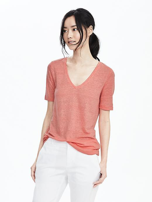 Linen Vee Bright Guava - neckline: v-neck; pattern: plain; style: t-shirt; predominant colour: coral; occasions: casual; length: standard; fibres: linen - 100%; fit: body skimming; sleeve length: short sleeve; sleeve style: standard; texture group: linen; pattern type: fabric; season: s/s 2016; wardrobe: highlight
