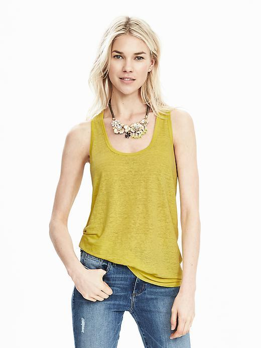 Linen Tank Green Starfruit - sleeve style: standard vest straps/shoulder straps; pattern: plain; style: vest top; predominant colour: primrose yellow; occasions: casual; length: standard; neckline: scoop; fibres: linen - mix; fit: body skimming; sleeve length: sleeveless; texture group: linen; pattern type: fabric; season: s/s 2016; wardrobe: highlight