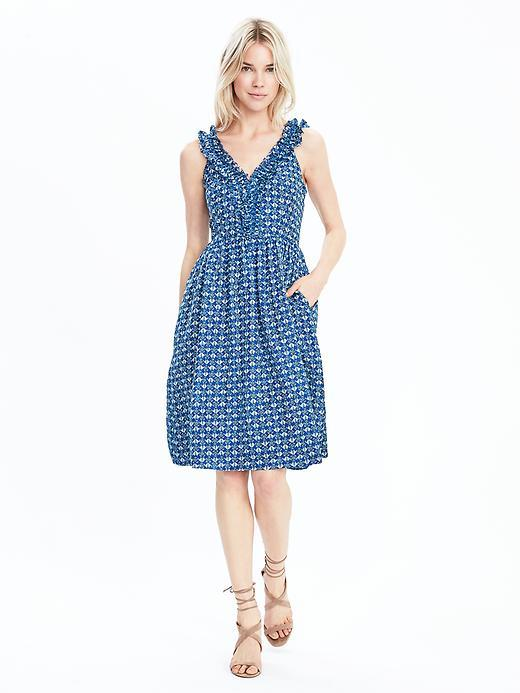 Heritage Print Ruffle Vee Dress Open Seas - neckline: low v-neck; fit: fitted at waist; sleeve style: sleeveless; secondary colour: ivory/cream; predominant colour: royal blue; occasions: casual; length: on the knee; style: fit & flare; fibres: cotton - mix; sleeve length: sleeveless; pattern type: fabric; pattern size: standard; pattern: patterned/print; texture group: other - light to midweight; season: s/s 2016; wardrobe: highlight