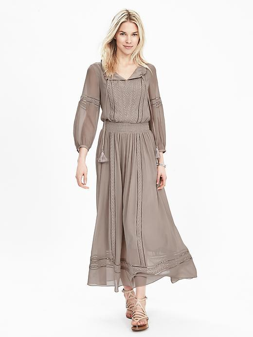 Silk Tassel Boho Dress Boulder - length: calf length; neckline: low v-neck; fit: fitted at waist; pattern: plain; style: blouson; waist detail: elasticated waist; sleeve style: balloon; predominant colour: taupe; fibres: silk - 100%; occasions: occasion; hip detail: subtle/flattering hip detail; sleeve length: long sleeve; texture group: sheer fabrics/chiffon/organza etc.; pattern type: fabric; season: s/s 2016; wardrobe: event
