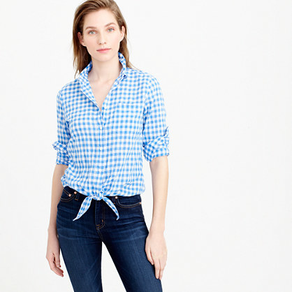 Tie Front Boy Shirt In Gingham - neckline: shirt collar/peter pan/zip with opening; pattern: checked/gingham; style: shirt; waist detail: belted waist/tie at waist/drawstring; secondary colour: white; predominant colour: diva blue; occasions: casual; length: standard; fibres: cotton - stretch; fit: body skimming; sleeve length: 3/4 length; sleeve style: standard; texture group: cotton feel fabrics; pattern type: fabric; pattern size: standard; multicoloured: multicoloured; season: s/s 2016; wardrobe: highlight