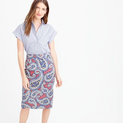 Petite No. 2 Pencil Skirt In Paisley - length: below the knee; style: pencil; fit: tailored/fitted; pattern: paisley; waist: high rise; hip detail: draws attention to hips; predominant colour: true red; secondary colour: royal blue; fibres: polyester/polyamide - 100%; pattern type: fabric; texture group: woven light midweight; occasions: creative work; pattern size: big & busy (bottom); multicoloured: multicoloured; season: s/s 2016; wardrobe: highlight