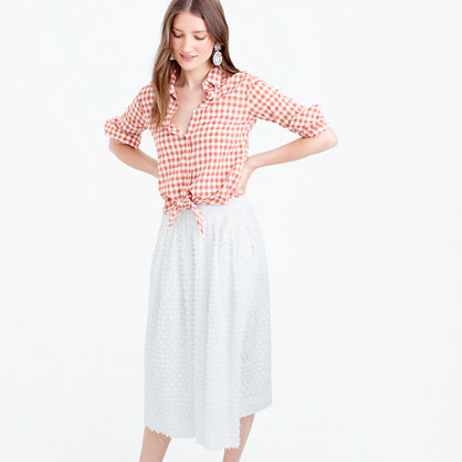 Midi Skirt In Cotton Clip Dot - length: below the knee; pattern: plain; style: full/prom skirt; fit: loose/voluminous; waist: high rise; predominant colour: white; occasions: casual, creative work; fibres: cotton - 100%; hip detail: soft pleats at hip/draping at hip/flared at hip; waist detail: narrow waistband; pattern type: fabric; texture group: woven light midweight; season: s/s 2016