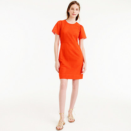 Flutter Sleeve Dress In Eyelet - style: shift; pattern: plain; predominant colour: bright orange; occasions: evening; length: just above the knee; fit: body skimming; fibres: cotton - mix; neckline: crew; sleeve length: short sleeve; sleeve style: standard; pattern type: fabric; texture group: other - light to midweight; season: s/s 2016; wardrobe: event