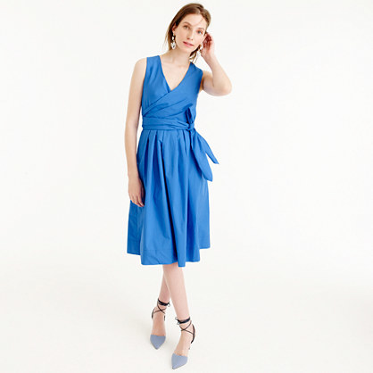 Wrap Dress In Cotton Poplin - style: faux wrap/wrap; length: below the knee; neckline: v-neck; pattern: plain; sleeve style: sleeveless; waist detail: belted waist/tie at waist/drawstring; predominant colour: diva blue; occasions: evening; fit: body skimming; fibres: cotton - 100%; sleeve length: sleeveless; pattern type: fabric; texture group: other - light to midweight; season: s/s 2016; wardrobe: event