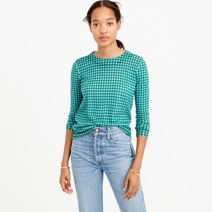 Petite Tippi Sweater In Blue Emerald Gingham - neckline: round neck; pattern: checked/gingham; style: standard; predominant colour: mint green; occasions: casual, creative work; length: standard; fibres: wool - mix; fit: standard fit; sleeve length: long sleeve; sleeve style: standard; texture group: knits/crochet; pattern type: knitted - fine stitch; pattern size: big & busy (top); season: s/s 2016; wardrobe: highlight