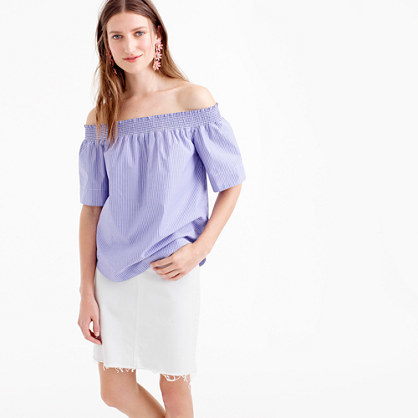 Tall Cotton Off The Shoulder Top In Stripe - neckline: off the shoulder; pattern: plain; length: below the bottom; predominant colour: pale blue; occasions: casual; style: top; fibres: cotton - 100%; fit: body skimming; sleeve length: short sleeve; sleeve style: standard; texture group: cotton feel fabrics; pattern type: fabric; season: s/s 2016; wardrobe: highlight