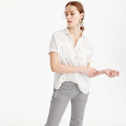 Tall Short Sleeve Popover Shirt In White Irish Linen - neckline: shirt collar/peter pan/zip with opening; pattern: plain; style: shirt; predominant colour: white; occasions: casual; length: standard; fibres: linen - 100%; fit: body skimming; sleeve length: short sleeve; sleeve style: standard; pattern type: fabric; texture group: other - light to midweight; season: s/s 2016; wardrobe: basic