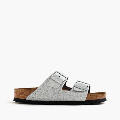 Women's Birkenstock® Arizona Sandals In Magic Galaxy - predominant colour: silver; occasions: casual, holiday; material: faux leather; heel height: flat; embellishment: buckles; heel: block; toe: open toe/peeptoe; style: slides; finish: metallic; pattern: plain; shoe detail: tread; season: s/s 2016; wardrobe: highlight