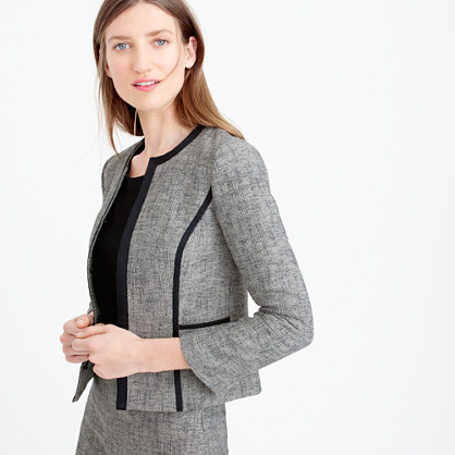 Petite Collarless Contrast Jacket In Cotton Tweed - collar: round collar/collarless; style: boxy; pattern: herringbone/tweed; predominant colour: mid grey; secondary colour: black; length: standard; fit: straight cut (boxy); fibres: wool - mix; sleeve length: 3/4 length; sleeve style: standard; collar break: low/open; pattern type: fabric; pattern size: light/subtle; texture group: tweed - light/midweight; occasions: creative work; season: s/s 2016