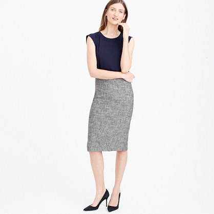 Pencil Skirt In Cotton Tweed - length: below the knee; style: pencil; fit: tailored/fitted; waist: high rise; hip detail: draws attention to hips; pattern: herringbone/tweed; predominant colour: mid grey; occasions: work; fibres: cotton - 100%; pattern type: fabric; texture group: tweed - light/midweight; pattern size: light/subtle (bottom); season: s/s 2016; wardrobe: highlight