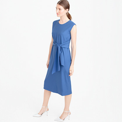 Overtime Dress In Super 120s Wool - style: shift; length: below the knee; pattern: plain; sleeve style: sleeveless; waist detail: belted waist/tie at waist/drawstring; predominant colour: royal blue; fit: body skimming; fibres: wool - mix; occasions: occasion; neckline: crew; sleeve length: sleeveless; pattern type: fabric; texture group: other - light to midweight; season: s/s 2016; wardrobe: event