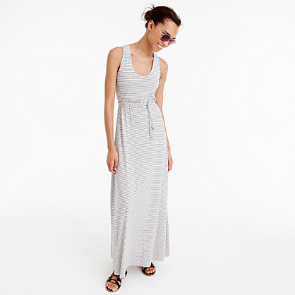Triple Striped Maxi Dress With Tie Waist - neckline: round neck; sleeve style: standard vest straps/shoulder straps; pattern: horizontal stripes; style: maxi dress; length: ankle length; waist detail: belted waist/tie at waist/drawstring; predominant colour: ivory/cream; occasions: casual; fit: body skimming; sleeve length: sleeveless; pattern type: fabric; pattern size: light/subtle; texture group: jersey - stretchy/drapey; fibres: viscose/rayon - mix; season: s/s 2016; wardrobe: basic