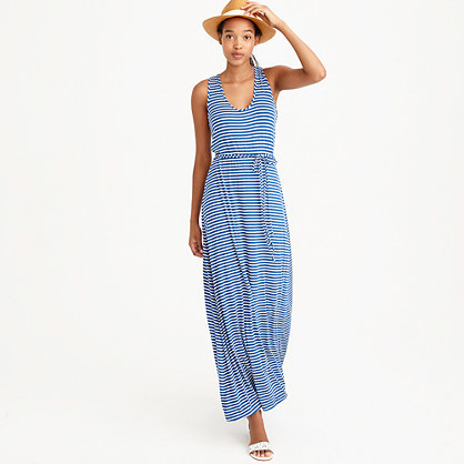 Striped Maxi Dress With Tie Waist - sleeve style: standard vest straps/shoulder straps; pattern: horizontal stripes; style: maxi dress; length: ankle length; waist detail: belted waist/tie at waist/drawstring; secondary colour: white; predominant colour: royal blue; occasions: casual; fit: body skimming; neckline: scoop; fibres: cotton - stretch; sleeve length: sleeveless; pattern type: fabric; pattern size: standard; texture group: jersey - stretchy/drapey; season: s/s 2016; wardrobe: highlight
