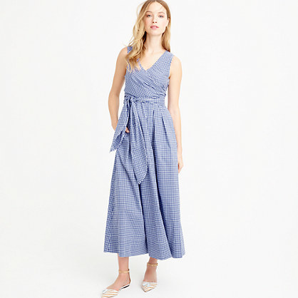 Collection Thomas Mason® For Gingham Dress - neckline: low v-neck; fit: fitted at waist; sleeve style: sleeveless; length: ankle length; waist detail: belted waist/tie at waist/drawstring; predominant colour: royal blue; occasions: casual; style: fit & flare; fibres: cotton - 100%; sleeve length: sleeveless; texture group: cotton feel fabrics; pattern type: fabric; pattern size: standard; pattern: patterned/print; season: s/s 2016; wardrobe: highlight