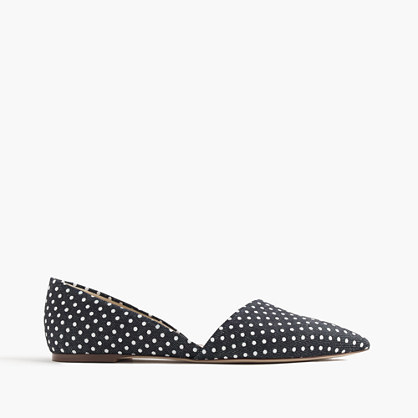 Sloan D'orsay Flats In Polka Dot Denim - predominant colour: black; occasions: casual, creative work; material: fabric; heel height: flat; toe: pointed toe; style: ballerinas / pumps; trends: monochrome; finish: plain; pattern: polka dot; season: s/s 2016; wardrobe: highlight