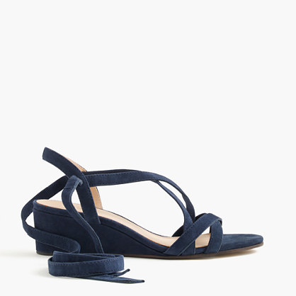 Suede Ankle Wrap Wedges - predominant colour: navy; occasions: casual, creative work; material: suede; heel height: mid; ankle detail: ankle tie; heel: wedge; toe: open toe/peeptoe; style: strappy; finish: plain; pattern: plain; season: s/s 2016; wardrobe: investment