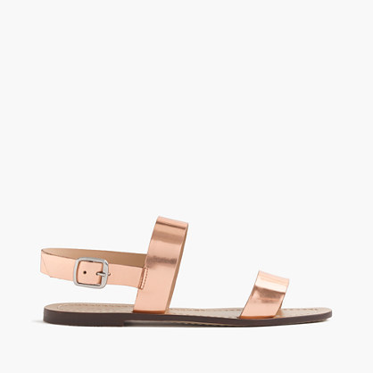 Jules Metallic Leather Sandals - predominant colour: nude; occasions: casual, holiday; material: leather; heel height: flat; ankle detail: ankle strap; heel: block; toe: open toe/peeptoe; style: strappy; finish: plain; pattern: plain; season: s/s 2016