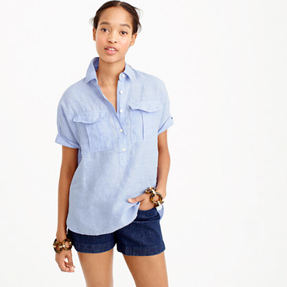 Short Sleeve Popover Shirt In Irish Linen - neckline: shirt collar/peter pan/zip with opening; pattern: plain; style: shirt; predominant colour: pale blue; occasions: casual; length: standard; fibres: linen - 100%; fit: loose; sleeve length: short sleeve; sleeve style: standard; pattern type: fabric; texture group: other - light to midweight; season: s/s 2016; wardrobe: highlight