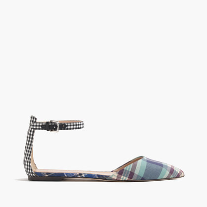 Mixed Plaid Flats With Ankle Strap - secondary colour: white; predominant colour: denim; occasions: casual; material: fabric; heel height: flat; ankle detail: ankle strap; toe: pointed toe; style: ballerinas / pumps; finish: plain; pattern: checked/gingham; multicoloured: multicoloured; season: s/s 2016