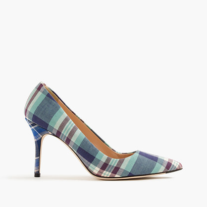 Elsie Pumps In Mixed Plaid - secondary colour: white; predominant colour: denim; occasions: evening; material: fabric; heel height: high; heel: stiletto; toe: pointed toe; style: courts; finish: plain; pattern: checked/gingham; multicoloured: multicoloured; season: s/s 2016