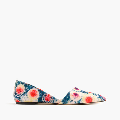 Sloan D'orsay Flats In Tie Dye Canvas - secondary colour: ivory/cream; predominant colour: navy; occasions: casual; material: leather; heel height: flat; toe: pointed toe; style: ballerinas / pumps; finish: plain; pattern: florals; multicoloured: multicoloured; season: s/s 2016; wardrobe: highlight