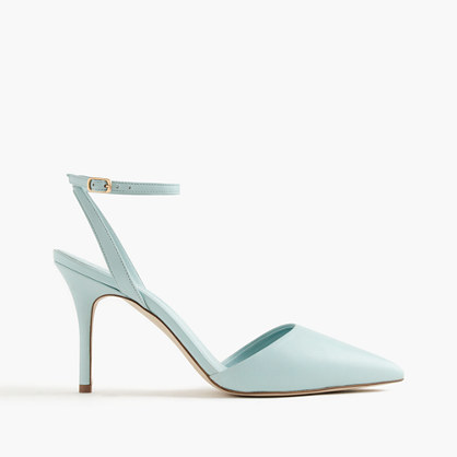 Elsie Ankle Wrap Pumps - predominant colour: pistachio; occasions: evening, occasion; material: leather; heel height: high; ankle detail: ankle strap; heel: stiletto; toe: pointed toe; style: slingbacks; finish: plain; pattern: plain; season: s/s 2016; wardrobe: event