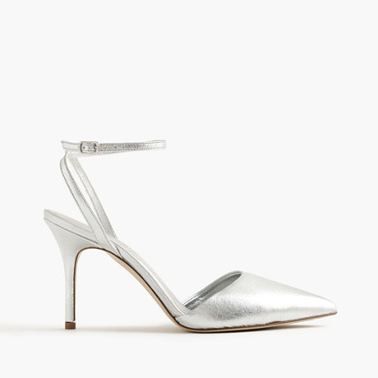 Elsie Metallic Ankle Wrap Pumps - predominant colour: silver; occasions: evening, occasion; material: leather; heel height: high; ankle detail: ankle strap; heel: stiletto; toe: pointed toe; style: slingbacks; finish: metallic; pattern: plain; season: s/s 2016; wardrobe: event