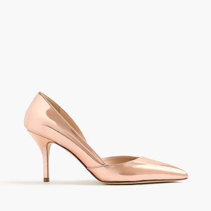Colette Metallic Rose Gold D'orsay Pumps - predominant colour: gold; occasions: evening, occasion; material: leather; heel height: high; heel: stiletto; toe: pointed toe; style: courts; finish: metallic; pattern: plain; season: s/s 2016
