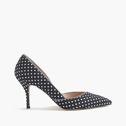Colette D'orsay Pumps In Polka Dot Denim - secondary colour: white; predominant colour: navy; occasions: evening, occasion; material: fabric; heel height: high; heel: stiletto; toe: pointed toe; style: courts; finish: plain; pattern: polka dot; season: s/s 2016