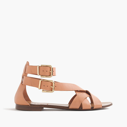 Multistrap Sandals - predominant colour: nude; occasions: casual, holiday; material: leather; heel height: flat; embellishment: buckles; ankle detail: ankle strap; heel: block; toe: open toe/peeptoe; style: strappy; finish: plain; pattern: plain; season: s/s 2016