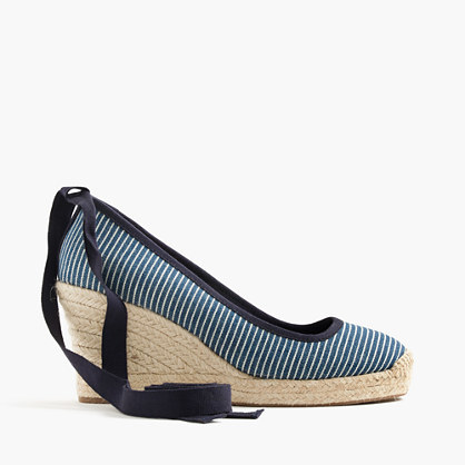 Seville Canvas Espadrille Wedges With Ankle Wrap - predominant colour: navy; secondary colour: stone; occasions: casual, holiday, creative work; material: fabric; heel height: high; ankle detail: ankle tie; heel: wedge; toe: round toe; finish: plain; pattern: striped; shoe detail: platform; style: espadrilles; season: s/s 2016; wardrobe: highlight