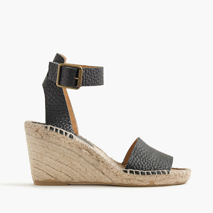 Corsica Tumbled Leather Espadrille Wedges - predominant colour: black; occasions: casual, creative work; material: leather; heel height: high; ankle detail: ankle strap; heel: wedge; toe: open toe/peeptoe; style: standard; finish: plain; pattern: plain; shoe detail: platform; season: s/s 2016; wardrobe: investment