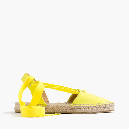 Canvas Pointy Toe Espadrilles With Ankle Wrap - predominant colour: yellow; occasions: casual, holiday; material: fabric; heel height: flat; ankle detail: ankle tie; toe: round toe; finish: plain; pattern: plain; style: espadrilles; season: s/s 2016; wardrobe: highlight