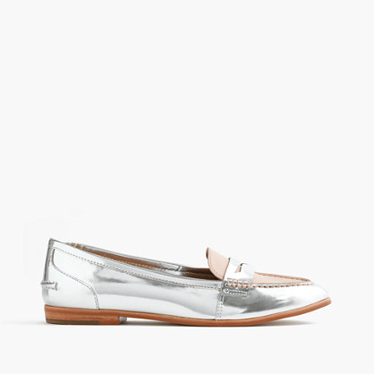 Collins Mixed Metallic Leather Loafers - predominant colour: silver; occasions: casual, creative work; material: leather; heel height: flat; toe: round toe; style: loafers; finish: metallic; pattern: plain; season: s/s 2016; wardrobe: basic