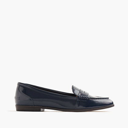 Collins Leather Loafers - predominant colour: navy; occasions: casual, work, creative work; material: leather; heel height: flat; toe: pointed toe; style: loafers; finish: patent; pattern: plain; season: s/s 2016; wardrobe: basic