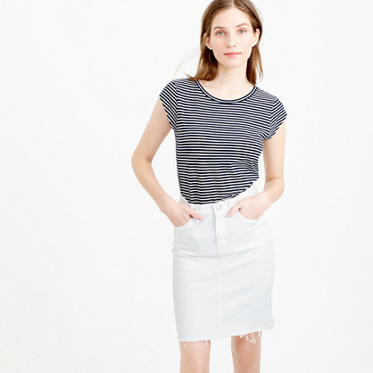 Ballet Cap Sleeve T Shirt In Stripe - neckline: round neck; sleeve style: capped; pattern: striped; style: t-shirt; secondary colour: white; predominant colour: navy; occasions: casual, creative work; length: standard; fibres: cotton - mix; fit: body skimming; sleeve length: short sleeve; pattern type: fabric; pattern size: standard; texture group: jersey - stretchy/drapey; season: s/s 2016; wardrobe: highlight