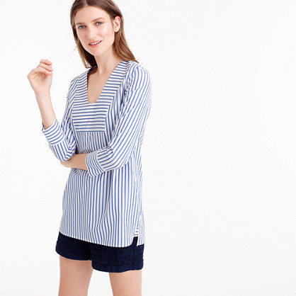 Collection Thomas Mason® For Scoopneck Tunic In Classic Stripe - neckline: v-neck; pattern: striped; length: below the bottom; style: tunic; predominant colour: white; secondary colour: navy; occasions: casual, creative work; fibres: cotton - 100%; fit: straight cut; sleeve length: 3/4 length; sleeve style: standard; texture group: cotton feel fabrics; pattern type: fabric; pattern size: standard; season: s/s 2016; wardrobe: highlight