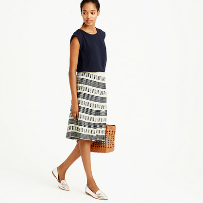 Pleated Sweater Skirt In Stripe - length: below the knee; fit: loose/voluminous; waist: high rise; predominant colour: ivory/cream; secondary colour: navy; occasions: casual; style: a-line; fibres: cotton - mix; pattern type: fabric; pattern: patterned/print; texture group: woven light midweight; pattern size: standard (bottom); season: s/s 2016; wardrobe: highlight
